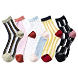 Women's Cute Transparent Sheer Mesh Fishnet Lace See Through Ankle Socks Color Block Casual Crew Socks Size 5-9 (Multi color A - 5 pairs) -  Totoci