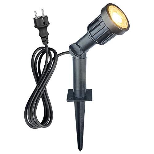 LED Gartenstrahler mit Erdspieß 5w 400lm, IP65 Wasserdicht Schwenkbar Pflanzenstrahler Gartenleuchte Rasenlicht 3000k für Garten Terrasse Außenbereich, mit 1,500mm Kabel und Verlängertes Rohr