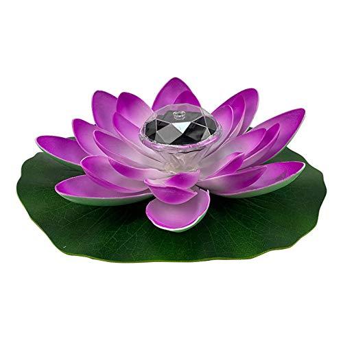 Wyi Luz de loto flotante impermeable, flores de loto con energía solar, luces de noche flotantes para estanques, piscina, jardín, pecera, decoración de fiesta de boda