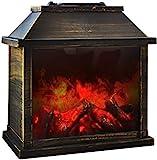 Eaxus® Chimenea eléctrica decorativa con efecto llama y aspecto retro, 28 x 28 x 15 cm, color marrón