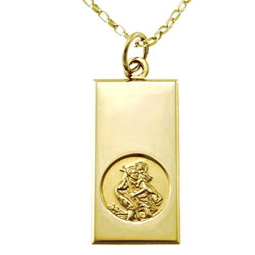 Medaille St. Christophorus, 9 Karat Gold, 14 mm, mit 45,7 cm langer Kette und Geschenkbox