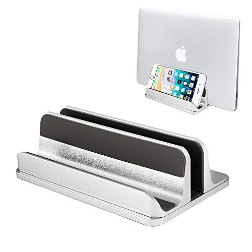 Vertical Laptop Stand PHOCAR Macbook Stand Laptop Holder Aluminum Tablet Stand Adjustable Dock Station for Cellphones,iPad,Macbook and More Notebooks - Silver