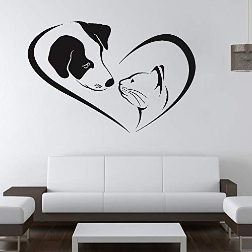 Lindo perro gato salud para mascotas amor corazón logo animal hospital clínica aseo de mascotas etiqueta de la pared vinilo arte calcomanía estudio veterinario oficina decoración del hogar mural