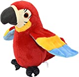 Cute Talking Parrot Toy Record Repeats Electronic Interactive Plush Toy Stuffed Animal Speaking Parrot Waving Wings Funny Bird Toys for Kids Children Christmas Birthday Gift, Height 9'' (Red Parrot)