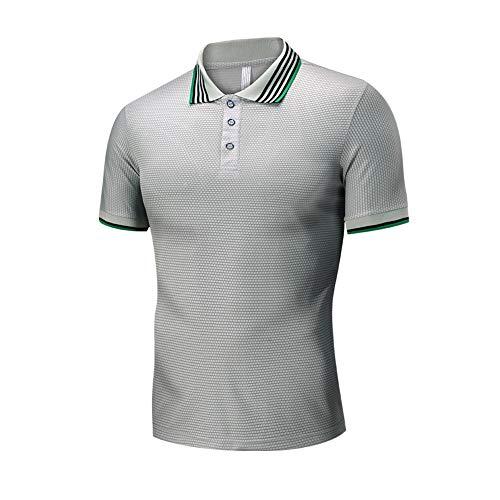 Herren Poloshirts Lässiges T-Shirt aus Baumwolle Knopf Umlegekragen Grey XL