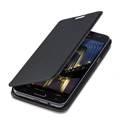 kwmobile Funda Compatible con Samsung Galaxy J5 (2015) - Carcasa con Tapa Tipo Libro - Case Protector en Negro