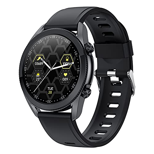 QFSLR Smartwatch, 1,3 '' IP67 Touchscreen-Smartwatch, Mit Pulsmesser Bluetooth Telefonie Blutdruck & Blutsauerstoff Aktivitätsmonitor, Schrittzähler, Für Ios Android,Black e