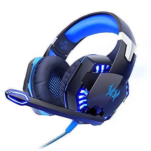 Noise Cancelling Headphones, Best Deep Bass Headphones for Gamers Games Stereo Headphones PC, Computer Gaming Headphones,Blue