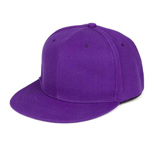 Resplend Mode Baseball Cap Unisex Einfacher Snapback-Kappe Hip-Hop-verstellbare Baseballmütze Einfarbig Hüte Visier Mütze (Lila)