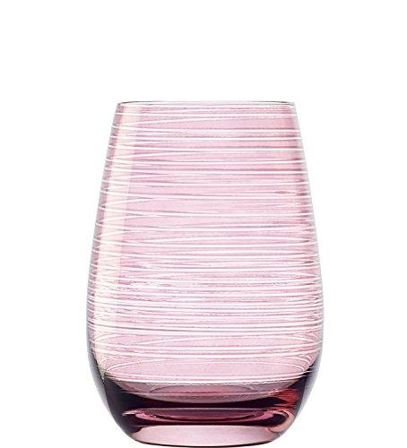 Vasos Twister de Stölzle Lausitz, 465 ml, Rosa, Juego de 6 Unidades, Bonitos Vasos de Colores, compatibles con lavavajillas