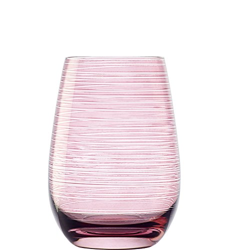 Stölzle Lausitz Twister Becher in Flieder, 465 ml, 6er Set Gläser, spülmaschinenfest, Bunte Trinkbecher, hochwertige Qualität