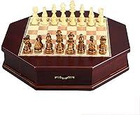 HEZ チェスセットゲームトラベル大人キッズボード磁気木製チェスセット、旅行チェスボードの貯蔵スロット、子供や大人のための手作りの大きな木の板ゲーム