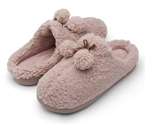 ChayChax Hausschuhe Damen Herren Winter Baumwolle Pantoffeln Wärme Plüsch Weiche Hausschuh, Violett-A, 35/36 EU