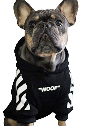 ChoChoCho Woof Dog Hoodie Pet Clothes Stylish Streetwear Sweatshirt Fashion Outfit for Dogs Cats Puppy Small Medium Large (S, Black with White Stripe)
