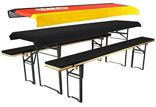 Brandsseller WM-Edition Set voor bierbankkussens twee tafelkleden 1x vlag van Duitsland en 1x Uni 240x90 cm Bank 220x25x1,6 cm Bank 220x25x1,6 cm - Decke 240x90 cm WM-Edition/zwart