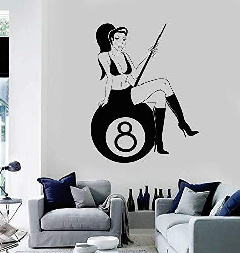 myrockshirt Wandtattoo Aufkleber Billiards Club Sexy Frau Cue Ball für alle glatten Flächen UV&Waschanlagenfest Auto Sticke