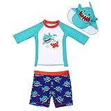 AIWUHE Baby Junge Zwei Stück Cartoon Badeanzug Schwimmbekleidung mit Hut Sonnenschutz Schwimmanzug Bade-Set, Blau, 90