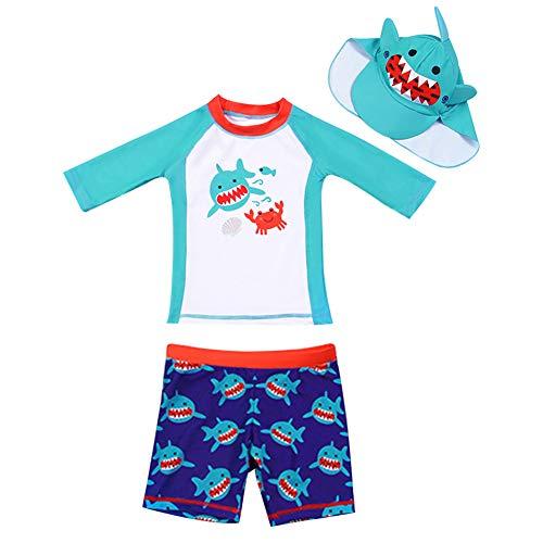 AIWUHE Baby Junge Zwei Stück Cartoon Badeanzug Schwimmbekleidung mit Hut Sonnenschutz Schwimmanzug Bade-Set, Blau, 110