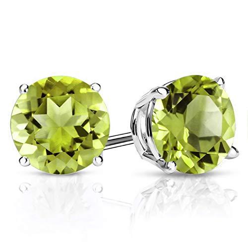Gem Stone King 925 Sterling Silver Green Peridot Stud Earrings Gemstone Birthstone For Women (2.70 Cttw Round 7MM)