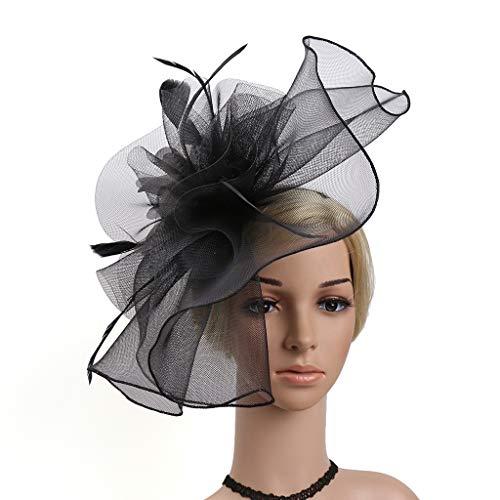 Sombrero Pluma Malla Neta Velo Sombrero De Fiesta Astot Sombrero Flor Derby Sombrero con Clip Y Hairband para Mujeres,Negro