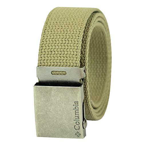 Columbia Men's Military Web Belt - Casual for Jeans Adjustable One Size Cotton Strap and Metal Plaque Buckle,Khaki,One Size