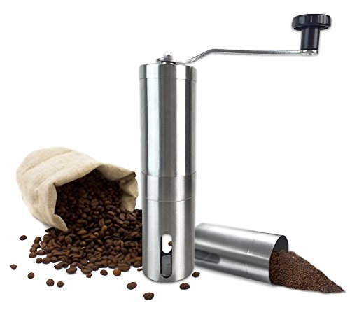 Manual Coffee Grinder with Ceramic Burr Hand Coffee Burr Hand Coffee Mill with Precision Conical Burr, Adjustable, Portable, Stainless Steel, Slim Design By All One Tech