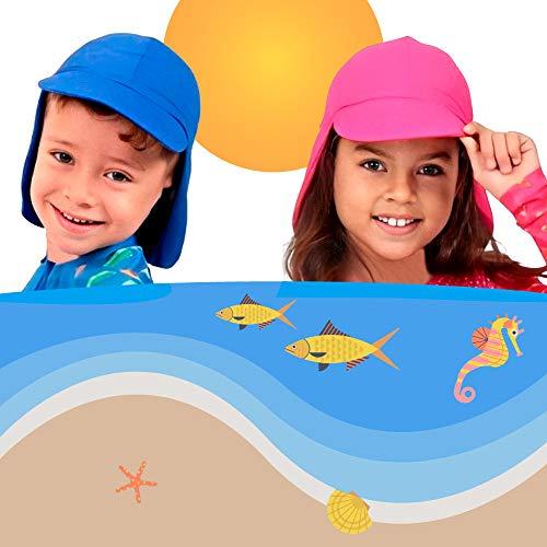 Boné infantil bebê criança proteção solar UV 50+ Passeio Sol Aloe Vera (M (2A - 6A), Rosa)