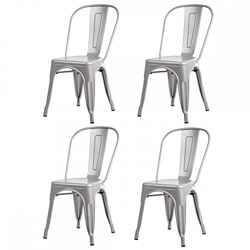 FDW Dining Chairs Metal Chairs Bar Chairs Set of 4 Stackable Metal Stool Dining Bistro Cafe Side Chairs