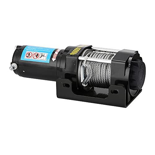 GDFFKS Torno eléctrico de 4000 Libras, cabrestables con Cable de CC Reversibles portátiles, con Cable de Acero de 15 m / 49 pies, Kits de recuperación de Remolque, Control Remoto inalámbrico