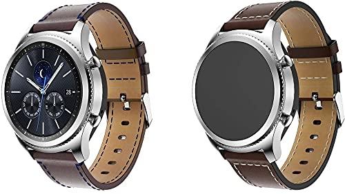 Gransho Quick Release - Compatible con Fossil Homme Montre Connectée 5ème Génération/Gen 5 (44MM) / Gen 5E (44MM) Correas de Reloj Cuero (22mm, Coffee+Kaffee)