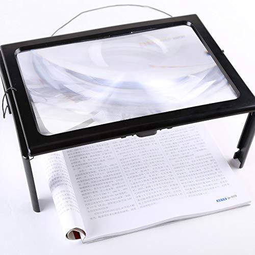 Biger Lupa de Escritorio A4 Tamaño de Papel 3 × Zoom Leer con Soporte y luz