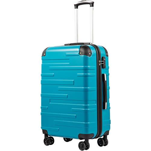 COOLIFE Hartschalen-Koffer Rollkoffer Reisekoffer Vergrößerbares Gepäck (Nur Großer Koffer Erweiterbar) ABS Material mit TSA-Schloss und 4 Rollen(Türkisblau, Handgepäck)