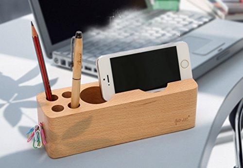 Multipurpose stylo titulaire Mobile Phone Base en bois Creative Fashion Multifonctionnel Papeterie Mobile Phone Stand Desktop bureau stylo titulaire