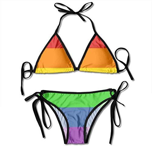 Fat Quarter Pride Flag Sexy Padded Bikini Set Adjustable Swimsuit 2 Piece