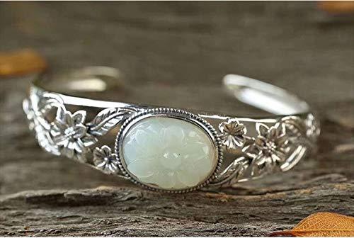 Armband voor dames, sterling zilver 925, fashion vintage instelbaar met ingeelegde Hetian Jade Court nationale stijl vorm armband voor dames jurk match