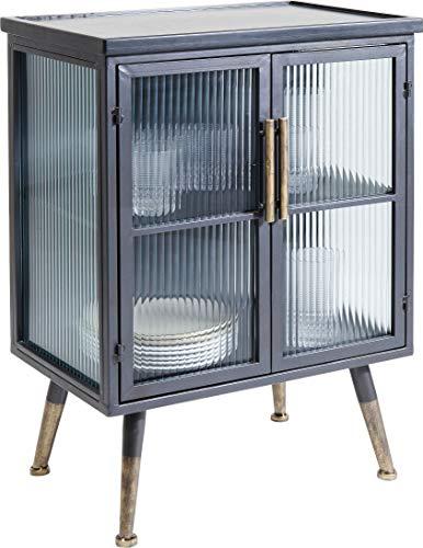 Kare Design Kommode La Gomera 2 Türen, schwarze Kommode im Industrial Style mit messing farbenen Füßen, Doppeltür und Fachböden, weitere Ausführungen erhältlich (H/B/T) 76x54x35cm