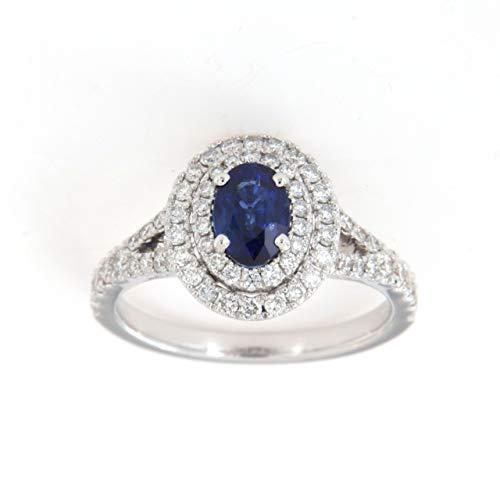 Anillo zafiro azul de doble contorno con diamantes Crivel