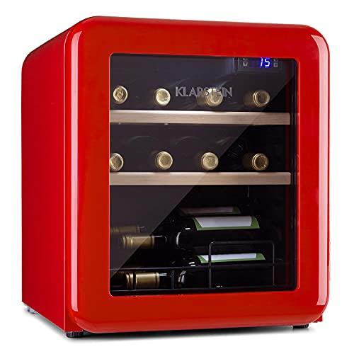 Klarstein Vinetage Uno - Nevera para vinos, Temperaturas de 4 a 22 °C, Refrigeración por compresión, Iluminación LED, 2 estantes de madera, Panel de control, Capacidad 46 L, Hasta 12 botellas, Rojo