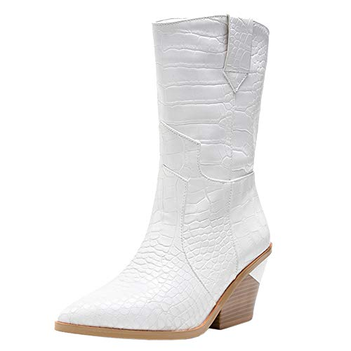 Lydee Mujer Clásico Western Booties Pull on Tacon Ancho Dress Botines Partido Botas Cortas White Talla 39