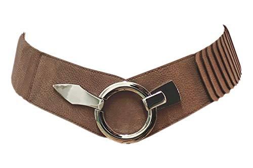 Unbekannt Damen Gürtel Kunstleder Taillengürtel Hüftgürtel One Size Stretch Gürtel #SA-73 (Terra Braun)