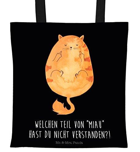 Mr. & Mrs. Panda Tasche, Stofftasche, Tragetasche Katze Mittelfinger mit Spruch - Farbe Schwarz