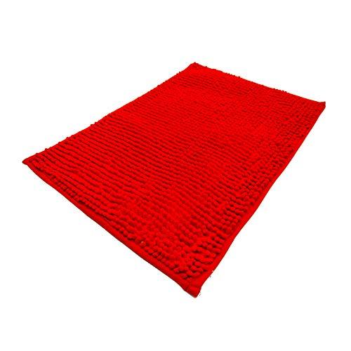Eanpet Chenille Bath Mat Non-Slip Microfiber Floor Mat Baby Bath Mat for Kids Ultra Soft Washable Bathroom Dry Fast Water Absorbent Shower Mat Area Rug (16' x 24', Red)