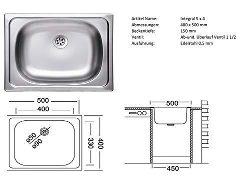 Smart Möbel Einbauspüle Edelstahl 46 x 45,5 cm - ESN 610