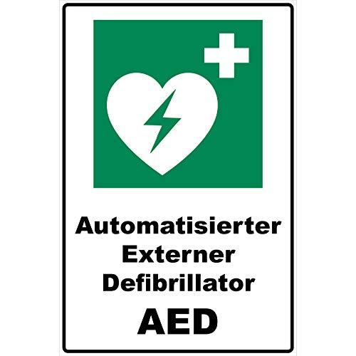 Schild Automatisierter Externer Defibrillator AED Schild Rettungszeichen grün 30 x 20 x 0,3 cm Hartschaumplatte