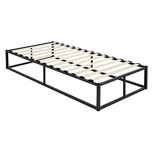 ML-Design Metallbett 90x200 cm auf Stahlrahmen mit Lattenrost, Schwarz, Bettgestell aus Metall, robust, leichte Montage, Bett für Schlafzimmer der Kinder, Jugendliche, Erwachsene, Jugendbett Gästebett