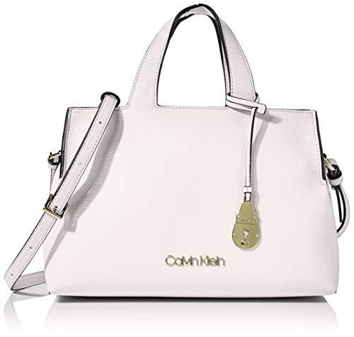 Calvin Klein - Neat Tote Md, Bolsos totes Mujer, Blanco (White), 1x1x1...