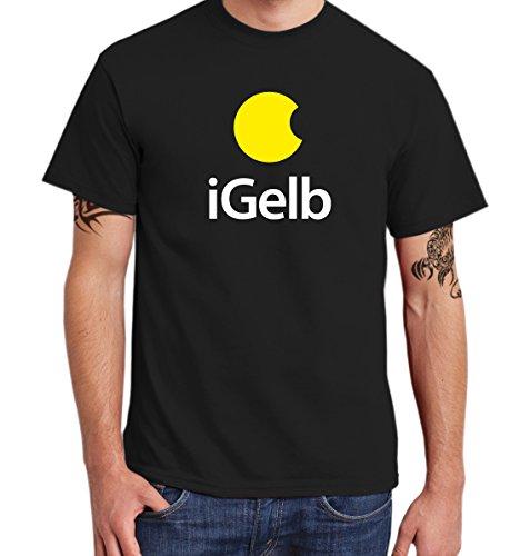 ::: iGELB ::: T-Shirt Herren, Schwarz, gelb-weißer Aufdruck, Größe XXL