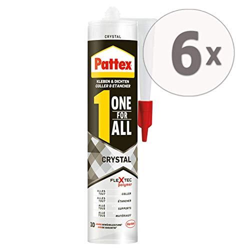 Pattex One for All Crystal Montagekleber - Extra stark haftender Alleskleber ohne Lösungsmittel - vereint Montagekleber und Silikon - 6 x 290g