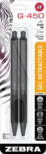 Zebra Pen G-450 Bolígrafo de gel retráctil, barril de latón negro, punta media, 0,7 mm, tinta negra, 2 unidades (49512)
