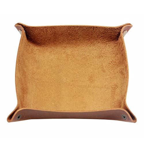 Boshiho Leather Tray, Cowhide leather Catchall Coin Tray for Key Change Caddy, Bedside Tiny Tray Key Phone Jewelry Storage Container Box (Light Brown)